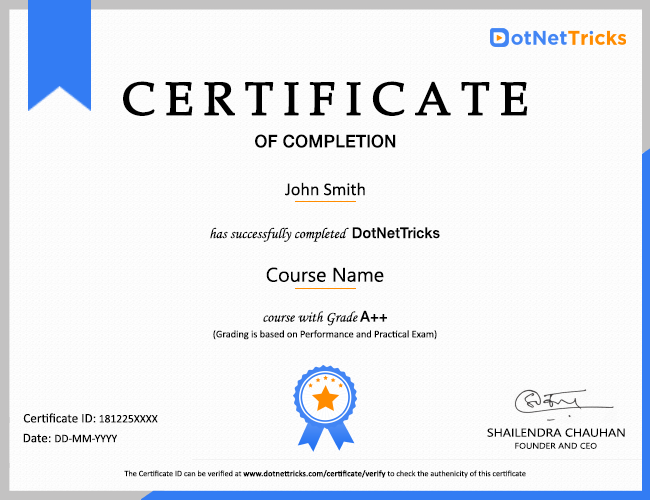 Dot Net Tricks Certificate